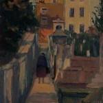 Alleyway with walking figure