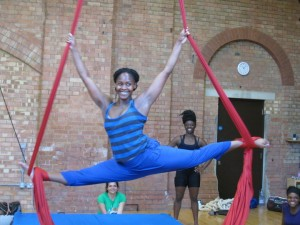 girl in blue-splits on silks