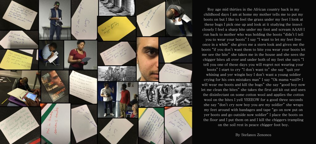 Stefanos created this collage for the exhibition and website creation element of the project. The collage helped him get into character, and he then wrote a monologue from the perspective of one of the World War One soldiers.
