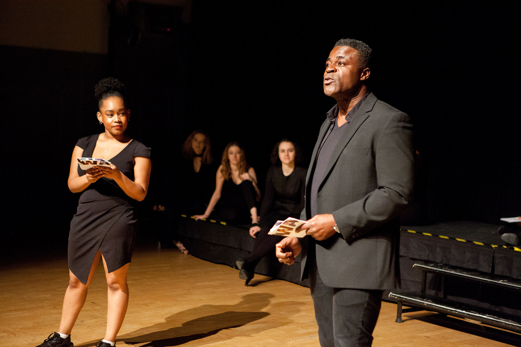Shelby and Danny. Caption - Our MCs for the evening; Diploma student Shelby and Wac Arts alum and Patron, Danny Sapani.