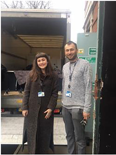 Front of House Supervisor Serena Braida and Building Supervisor Piotr Wijas, arrive bright and early to unload the delivery from Bloomberg.