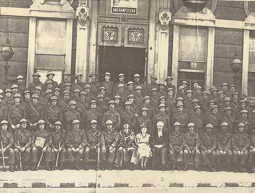 Wartime photo in front of the town hall