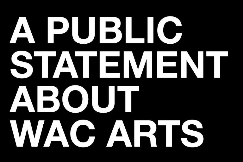 public statement from wac arts